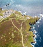 Vogelperspektive des Endes des Landes in Cornwall Stockbilder
