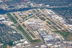 Vogelperspektive des Flughafens Dallas Love Fields (Dal) stockbild