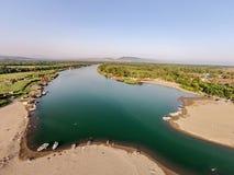 Vogelperspektive des Flusses Bojana und der Ada Bojana-Insel, Monte Stockfotos