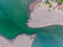 Vogelperspektive des Flusses Bojana und der Ada Bojana-Insel, Monte Lizenzfreie Stockfotografie