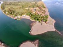 Vogelperspektive des Flusses Bojana und der Ada Bojana-Insel, Monte Lizenzfreies Stockfoto