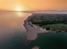 Vogelperspektive des Flusses Bojana und der Ada Bojana-Insel, Monte Stockfotografie
