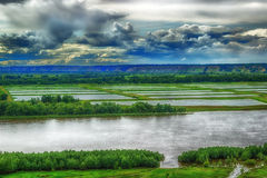 Vogelperspektive des Flusses Irtysh Russland Sibirien Lizenzfreie Stockbilder