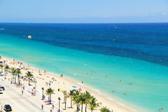 Vogelperspektive des Fort Lauderdale-Strandes im Fort Lauderdale, Florida USA Lizenzfreie Stockfotos