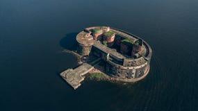 Vogelperspektive des Forts Alexander I. nahe Kronstadt und St Petersburg Lizenzfreie Stockfotografie
