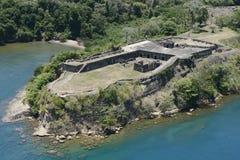 Vogelperspektive des Forts Sherman an Toro-Punkt, Panamakanal Stockbild