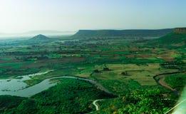 Vogelperspektive des grünen Tales von Indien Stockfotografie