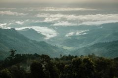 Vogelperspektive des gr?nen Waldes mit Nebelmeer und der Wolken um Gebirgszug lizenzfreie stockbilder