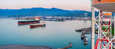 Vogelperspektive des Hafens Stockfotografie