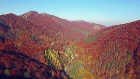 Vogelperspektive des Herbstes färbt Karpaten stock video footage