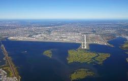Vogelperspektive des Johns F Kennedy International Airport u. x28; JFK& x29; in New York stockbild
