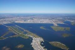 Vogelperspektive des Johns F Kennedy International Airport u. x28; JFK& x29; in New York lizenzfreie stockfotos