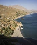 Vogelperspektive des kretischen Strandes Stockfotografie