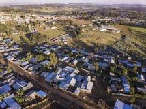 Vogelperspektive des ländlichen äthiopischen Dorfs Lizenzfreie Stockbilder