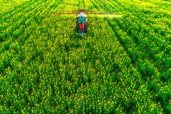 Vogelperspektive des Landwirtschaftstraktors pflügend und auf Feld sprühend Stockfotografie