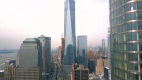 Vogelperspektive des Lower Manhattan, finanziell und des Geschäftsgebiets, New York City Brummen-Schuss stock footage