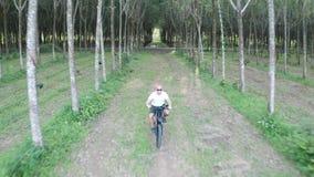 Vogelperspektive des Mannes auf elektrischem Fahrrad im Wald stock video