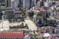 Vogelperspektive des Mexiko-Stadtrevolutionsmonuments Stockbilder