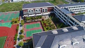Vogelperspektive des modernen chinesischen Schulvorortbereichs von Shanghai, China lizenzfreie stockfotos