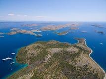 Vogelperspektive des Nationalparks Kornati Stockfotografie