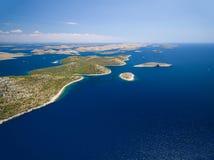 Vogelperspektive des Nationalparks Kornati Lizenzfreies Stockfoto