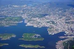 Vogelperspektive des Oslo-Bereichs in Norwegen stockbilder