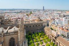 Vogelperspektive des Patios der Kathedrale von Sevilla vom La Giralda, Sevilla lizenzfreie stockfotos