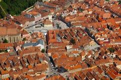 Vogelperspektive des Ratsquadrats von Brasov-Stadt, Rumänien Stockbilder