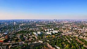 Vogelperspektive des städtischen Wohngebiets in London-Stadt Lizenzfreie Stockfotos