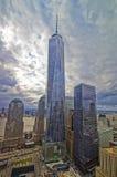 Vogelperspektive des Staatsangehörig-am 11. September Denkmals und des Freedom Towers Lizenzfreies Stockbild