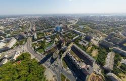 Vogelperspektive des Stadtzentrums Kreuzungen, Häuser Lizenzfreies Stockfoto
