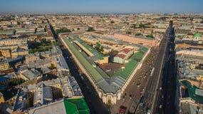 Vogelperspektive des Stadtzentrums in St Petersburg Lizenzfreies Stockbild