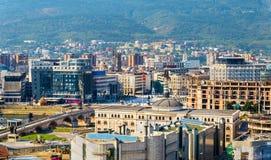 Vogelperspektive des Stadtzentrums von Skopje lizenzfreie stockbilder