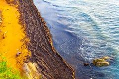 Vogelperspektive des Strandes und der Meereswellen Feiertagskonzeptbild mit Küste am sonnigen Tag lizenzfreie stockbilder