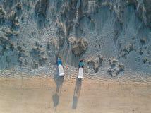 Vogelperspektive des tropischen Strandes Stockfotos