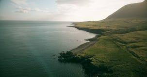 Vogelperspektive des Ufers des Meeres am sonnigen Tag Hubschrauber, der über die grüne Wiese am hellen Sommertag in Island fliegt stock video