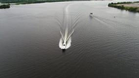Vogelperspektive des Vergnügungsdampfers Delaware River Philadelphia stock footage