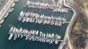 Vogelperspektive des Videos der Draufsicht 4K UHD Hafen Teneriffa-Kanarengirlitz Spanien-Brummens Stockfotos