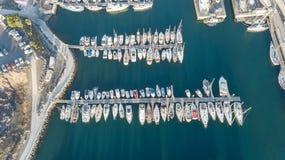 Vogelperspektive des Videos der Draufsicht 4K UHD Hafen Teneriffa-Kanarengirlitz Spanien-Brummens Stockfotografie
