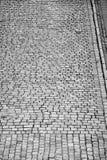 Vogelperspektive einer alten Kopfsteinstraße Lizenzfreies Stockbild