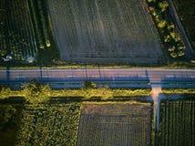 Vogelperspektive einer Landstraße mit bunten landwirtschaftlichen Feldern im Frühjahr - Deutschland Lizenzfreie Stockfotos