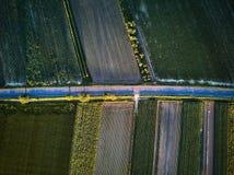 Vogelperspektive einer Landstraße mit bunten landwirtschaftlichen Feldern im Frühjahr - Deutschland Lizenzfreies Stockbild