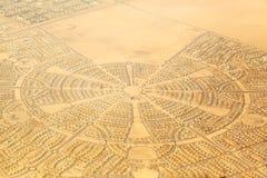 Vogelperspektive einer Nachbarschaft in Abu Dhabi Lizenzfreies Stockfoto