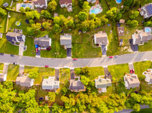 Vogelperspektive einer Plätzchen-Schneider-Nachbarschaft Stockfotografie