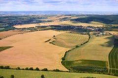 Vogelperspektive einer schönen Landschaft mit Weinbergen in Süd-Moravian-Region in der Tschechischen Republik Stockfotos