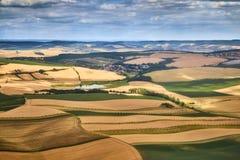 Vogelperspektive einer schönen Landschaft mit Weinbergen in Süd-Moravian-Region in der Tschechischen Republik Lizenzfreies Stockfoto