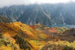 Vogelperspektive einer szenischen Drahtseilbahn, die über das Herbsttal im alpinen Weg Tateyama Kurobe, Japan fliegt Lizenzfreie Stockfotos