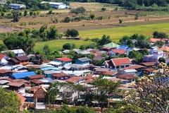 Vogelperspektive eines Dorfs in Lopburi Stockfotografie