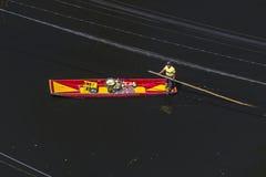 Vogelperspektive eines mexikanischen Boot chalupa in Xochimilco Lizenzfreie Stockbilder