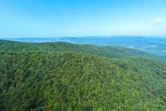 Vogelperspektive eines rumänischen Waldes stockbild
